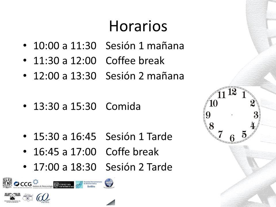 Horarios 10:00 a 11:30Sesión 1 mañana 11:30 a 12:00Coffee break 12:00 a 13:30Sesión 2 mañana 13:30 a 15:30Comida 15:30 a 16:45Sesión 1 Tarde 16:45 a 17:00Coffe break 17:00 a 18:30Sesión 2 Tarde