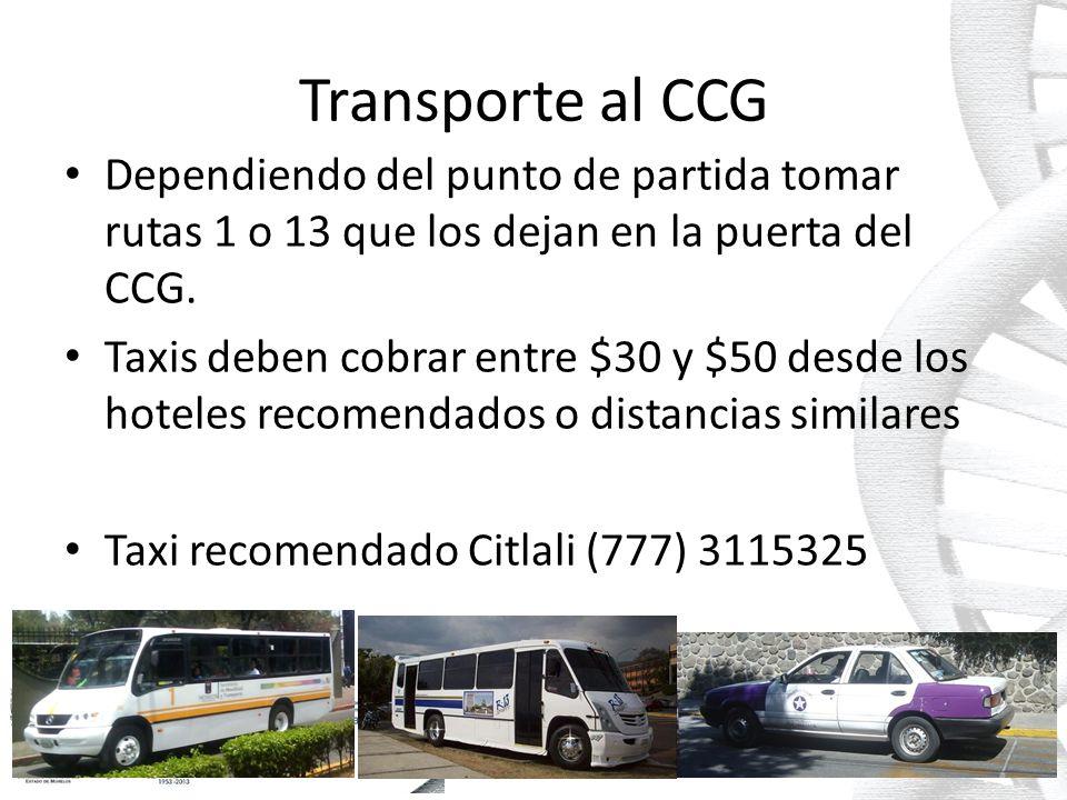 Transporte al CCG Dependiendo del punto de partida tomar rutas 1 o 13 que los dejan en la puerta del CCG.