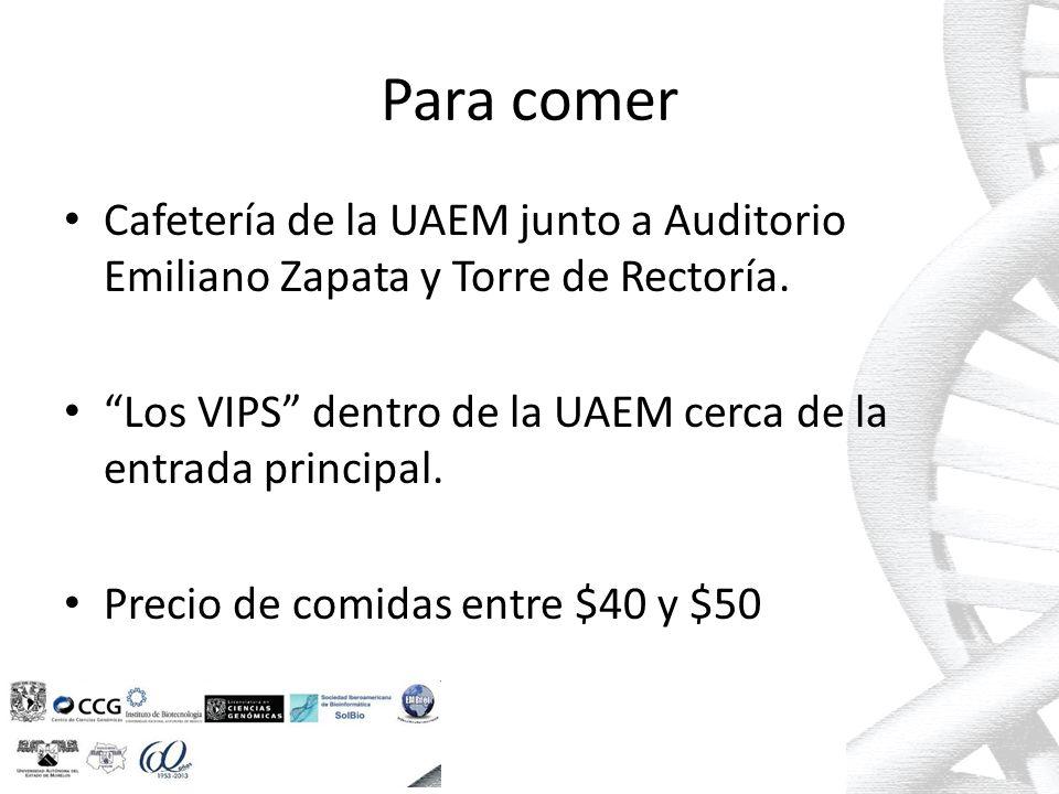 Para comer Cafetería de la UAEM junto a Auditorio Emiliano Zapata y Torre de Rectoría.