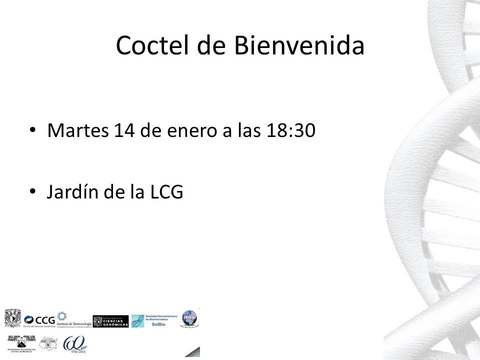 Coctel de Bienvenida Martes 14 de enero a las 18:30 Jardín de la LCG