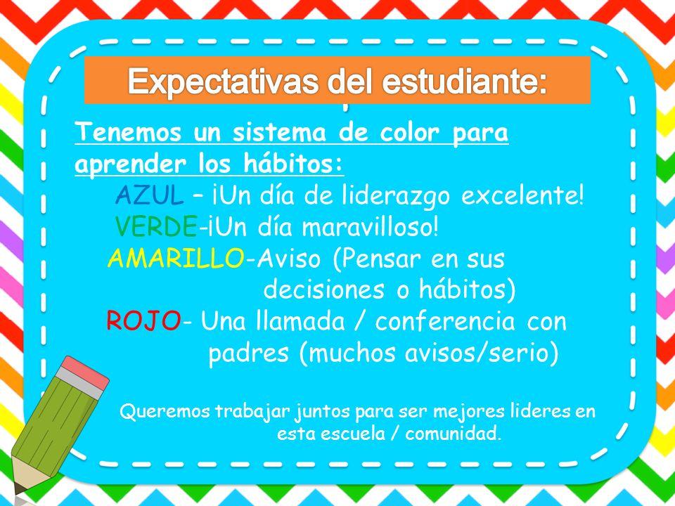 Tenemos un sistema de color para aprender los hábitos: AZUL – ¡Un día de liderazgo excelente! VERDE-¡Un día maravilloso! AMARILLO-Aviso (Pensar en sus