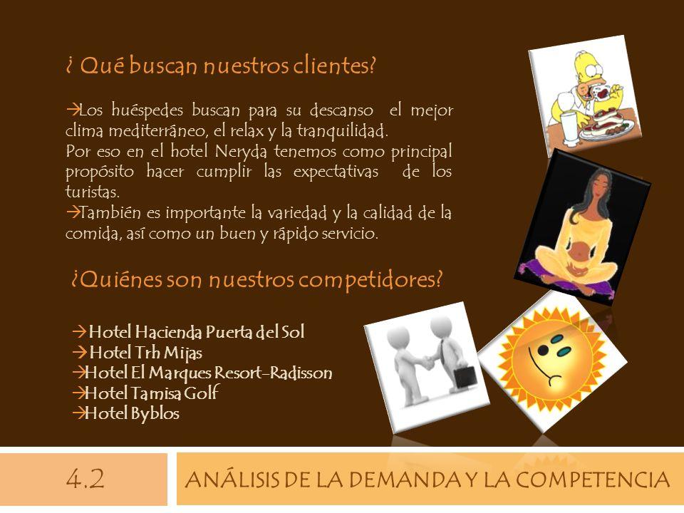 ANÁLISIS DE LA DEMANDA Y LA COMPETENCIA 4.2 ¿ Qué buscan nuestros clientes? Los huéspedes buscan para su descanso el mejor clima mediterráneo, el rela