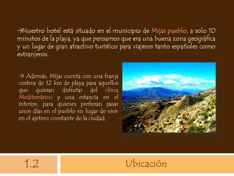 Ubicación Nuestro hotel está situado en el municipio de Mijas pueblo, a solo 10 minutos de la playa, ya que pensamos que era una buena zona geográfica