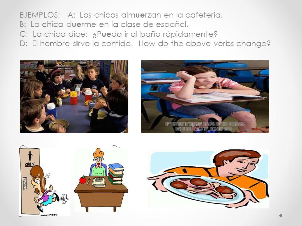 EJEMPLOS: A: Los chicos alm ue rzan en la cafeteria.