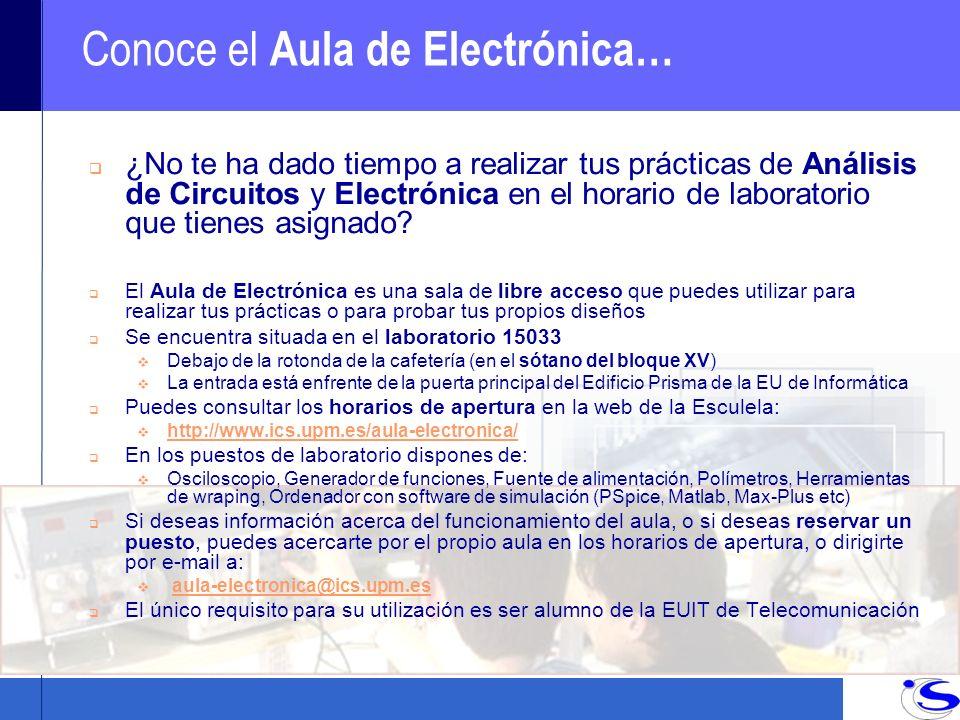 Conoce el Aula de Electrónica… q ¿No te ha dado tiempo a realizar tus prácticas de Análisis de Circuitos y Electrónica en el horario de laboratorio que tienes asignado.