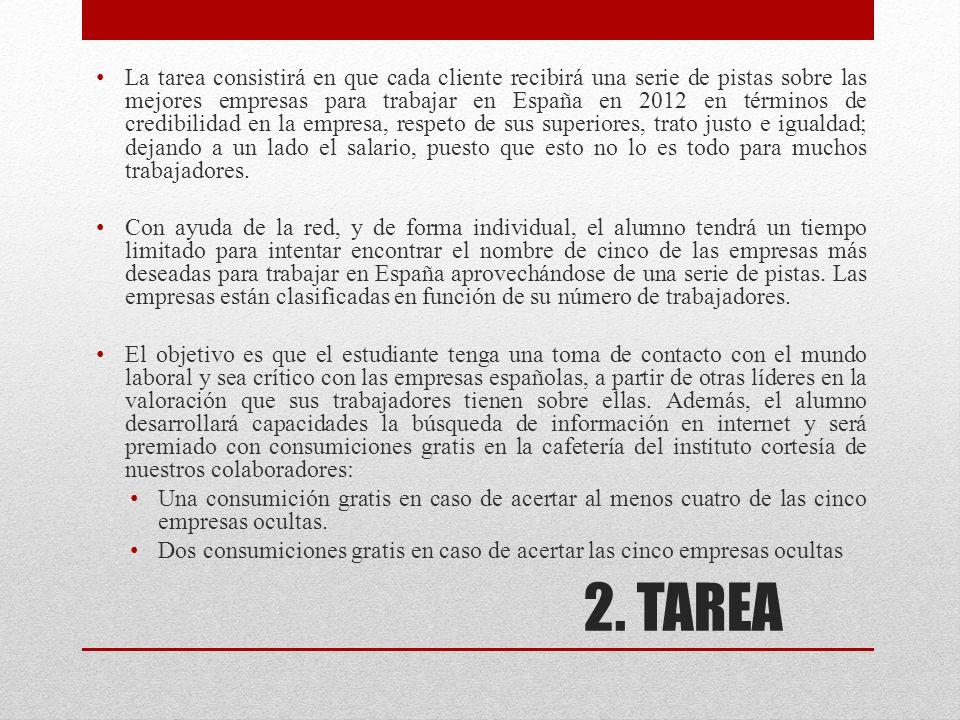 2. TAREA La tarea consistirá en que cada cliente recibirá una serie de pistas sobre las mejores empresas para trabajar en España en 2012 en términos d
