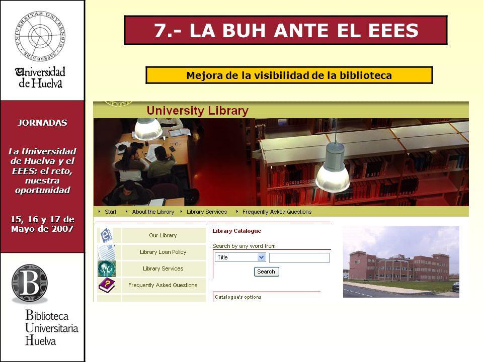 JORNADAS La Universidad de Huelva y el EEES: el reto, nuestra oportunidad 15, 16 y 17 de Mayo de 2007 7.- LA BUH ANTE EL EEES Mejora de la visibilidad de la biblioteca