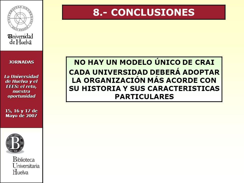 JORNADAS La Universidad de Huelva y el EEES: el reto, nuestra oportunidad 15, 16 y 17 de Mayo de 2007 8.- CONCLUSIONES NO HAY UN MODELO ÚNICO DE CRAI CADA UNIVERSIDAD DEBERÁ ADOPTAR LA ORGANIZACIÓN MÁS ACORDE CON SU HISTORIA Y SUS CARACTERISTICAS PARTICULARES
