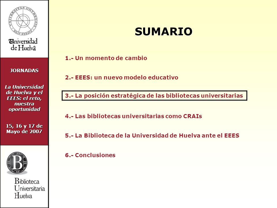 JORNADAS La Universidad de Huelva y el EEES: el reto, nuestra oportunidad 15, 16 y 17 de Mayo de 2007 POSICIÓN ESTRATÉGICA DE LAS BIBLIOTECAS UNIVERSITARIAS LA BIBLIOTECA ES UN SERVICIO ESTRATÉGICO CLAVE PARA LA INNOVACIÓN DOCENTE Y LA IMPLANTACIÓN DEL EEES BUEN POSICIONAMIENTO DE LAS BIBLIOTECAS UNIVERSITARIAS ANTE EL CAMBIO Fuerte implantación de las tecnologías de la información Automatización de sus servicios Enfoque centrado en los usuarios Amplios horarios de atención al público Amplia experiencia en formación de usuarios Organización y gestión de información y documentación Aplicación de sistemas de gestión de la calidad Cultura del cambio e innovación docente Masiva presencia de documentos electrónicos