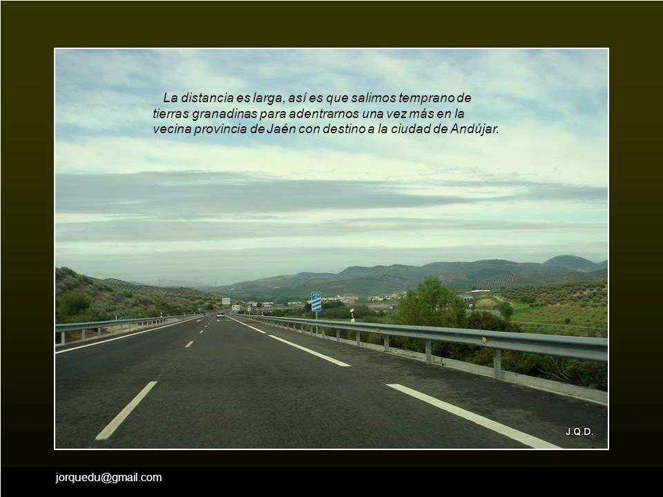 jorquedu@gmail.com La distancia es larga, así es que salimos temprano de tierras granadinas para adentrarnos una vez más en la vecina provincia de Jaén con destino a la ciudad de Andújar.