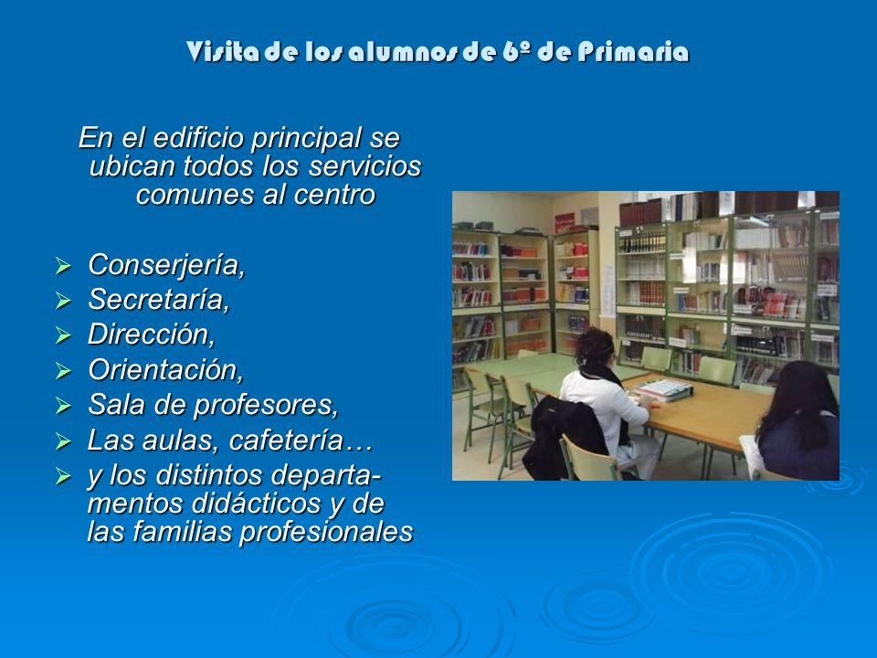 Visita de los alumnos de 6º de Primaria En el edificio principal se ubican todos los servicios comunes al centro Conserjería, Conserjería, Secretaría,