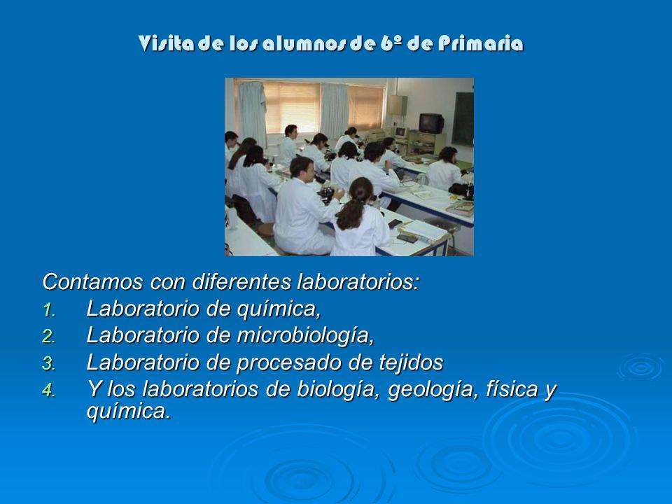 Visita de los alumnos de 6º de Primaria Contamos con diferentes laboratorios: 1. Laboratorio de química, 2. Laboratorio de microbiología, 3. Laborator