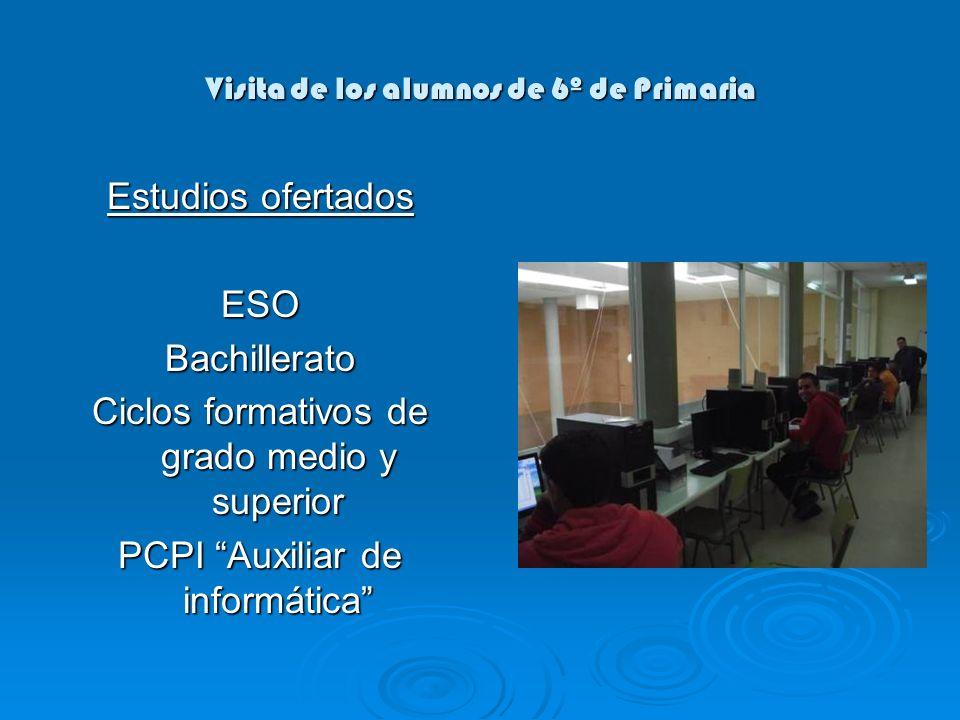 Visita de los alumnos de 6º de Primaria Estudios ofertados ESOBachillerato Ciclos formativos de grado medio y superior PCPI Auxiliar de informática