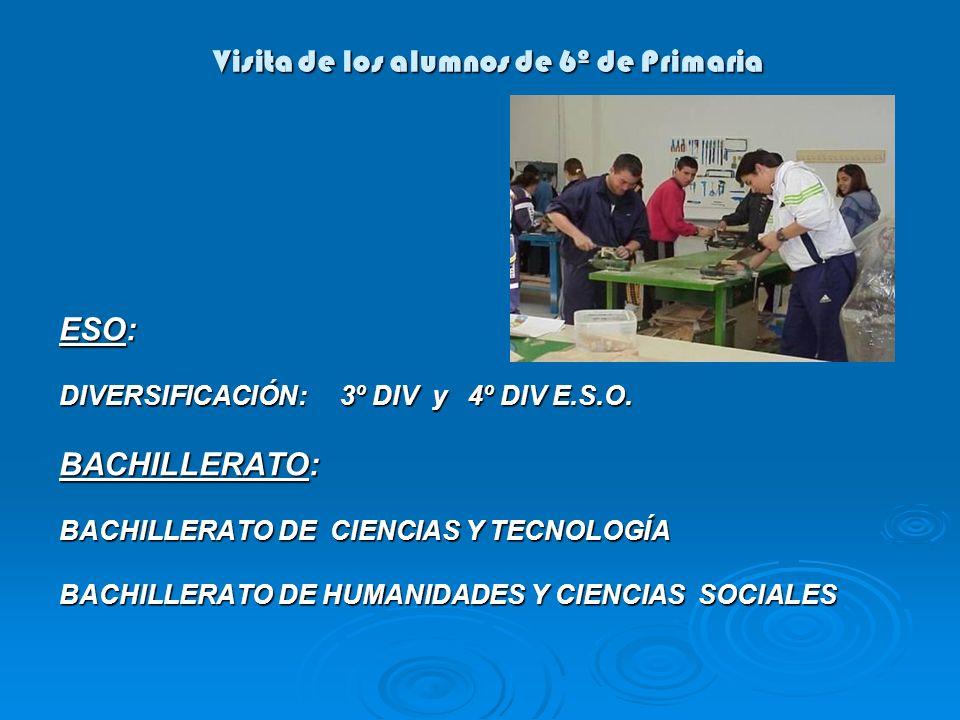 Visita de los alumnos de 6º de Primaria ESO: DIVERSIFICACIÓN: 3º DIV y 4º DIV E.S.O. BACHILLERATO: BACHILLERATO DE CIENCIAS Y TECNOLOGÍA BACHILLERATO