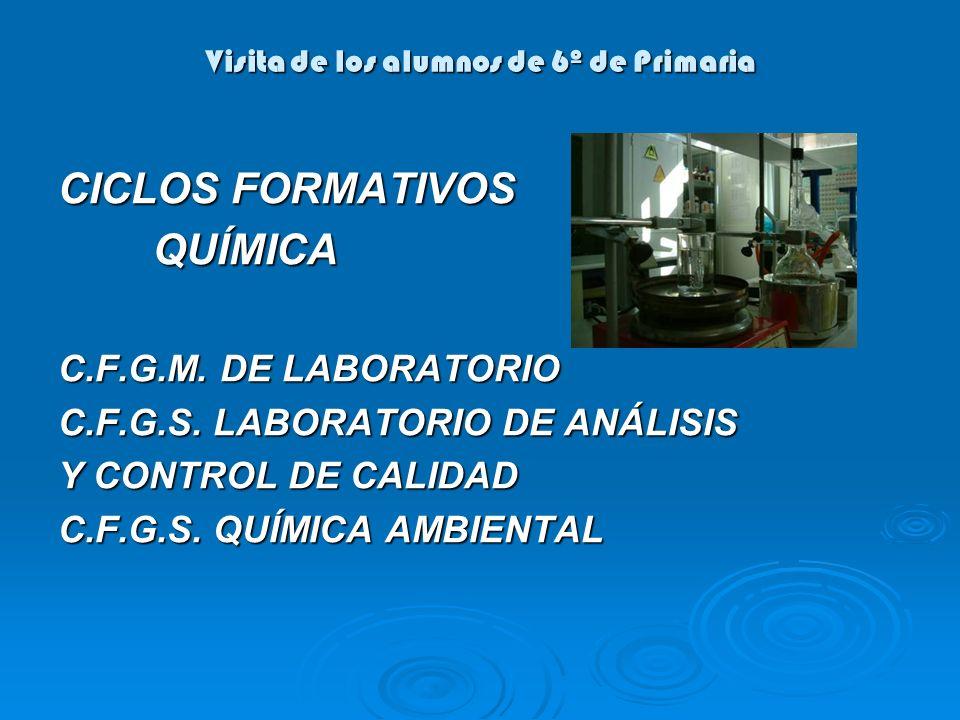 Visita de los alumnos de 6º de Primaria CICLOS FORMATIVOS QUÍMICA QUÍMICA C.F.G.M. DE LABORATORIO C.F.G.S. LABORATORIO DE ANÁLISIS Y CONTROL DE CALIDA