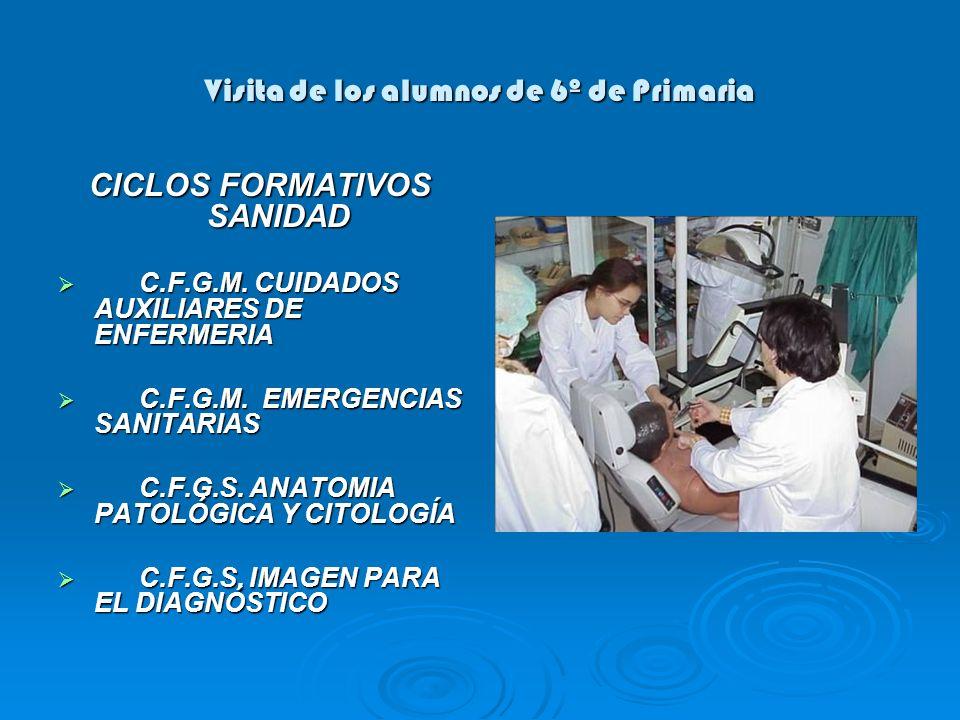 Visita de los alumnos de 6º de Primaria CICLOS FORMATIVOS SANIDAD C.F.G.M. CUIDADOS AUXILIARES DE ENFERMERIA C.F.G.M. CUIDADOS AUXILIARES DE ENFERMERI