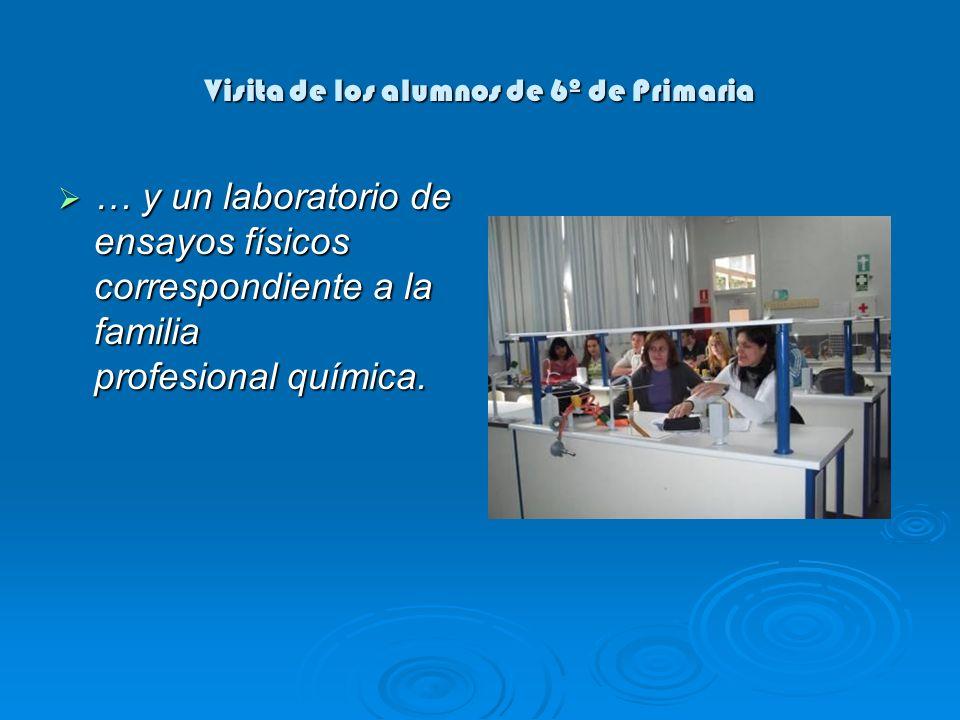 Visita de los alumnos de 6º de Primaria … y un laboratorio de ensayos físicos correspondiente a la familia profesional química. … y un laboratorio de