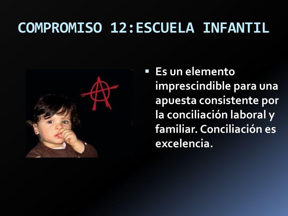 COMPROMISO 12:ESCUELA INFANTIL Es un elemento imprescindible para una apuesta consistente por la conciliación laboral y familiar. Conciliación es exce