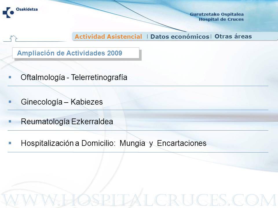 Actividad AsistencialDatos económicos Ampliación de Actividades 2009 Oftalmología - Telerretinografía Ginecología – Kabiezes Reumatología Ezkerraldea