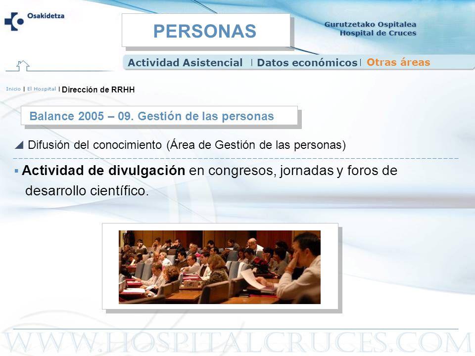 Actividad de divulgación en congresos, jornadas y foros de desarrollo científico. Balance 2005 – 09. Gestión de las personas Difusión del conocimiento