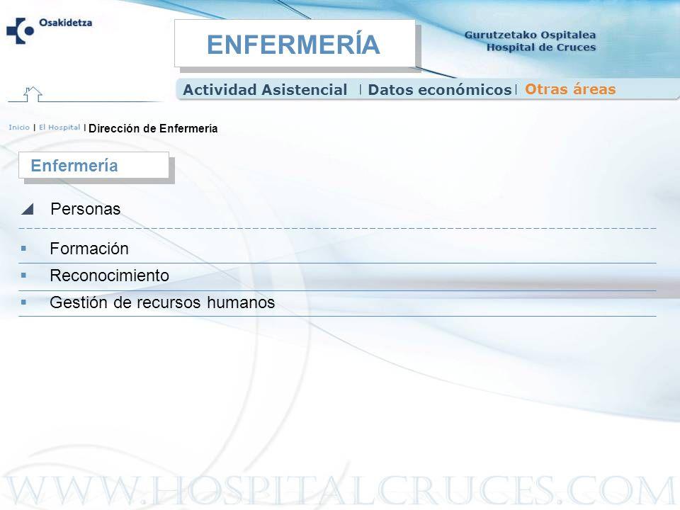 Dirección de Enfermería Formación Reconocimiento Gestión de recursos humanos Enfermería Personas Actividad AsistencialDatos económicos Otras áreas ENF