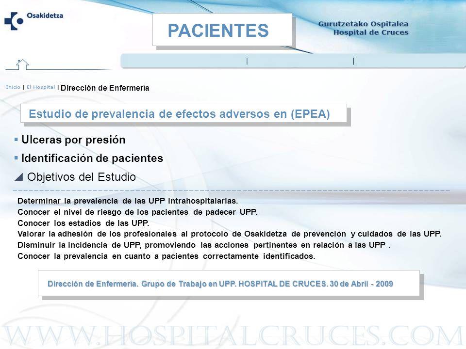 Estudio de prevalencia de efectos adversos en (EPEA) Dirección de Enfermería Ulceras por presión Identificación de pacientes Dirección de Enfermería.