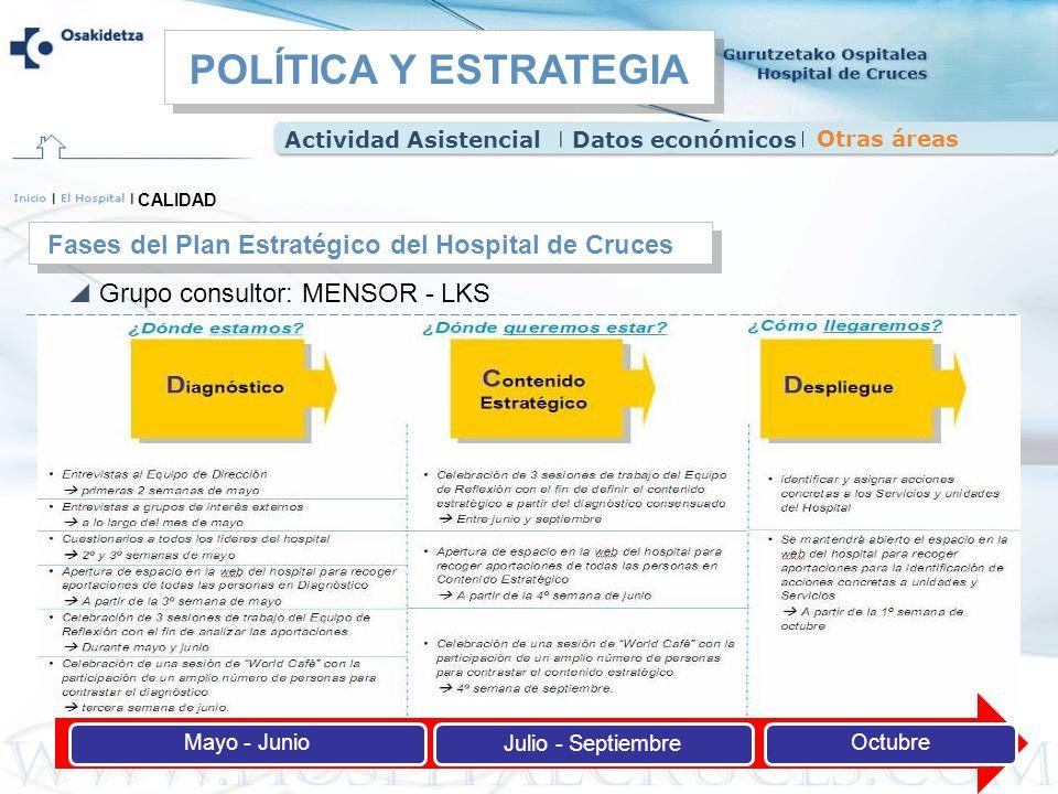 Mayo - JunioJulio - SeptiembreOctubre Grupo consultor: MENSOR - LKS CALIDAD Fases del Plan Estratégico del Hospital de Cruces Actividad AsistencialDat