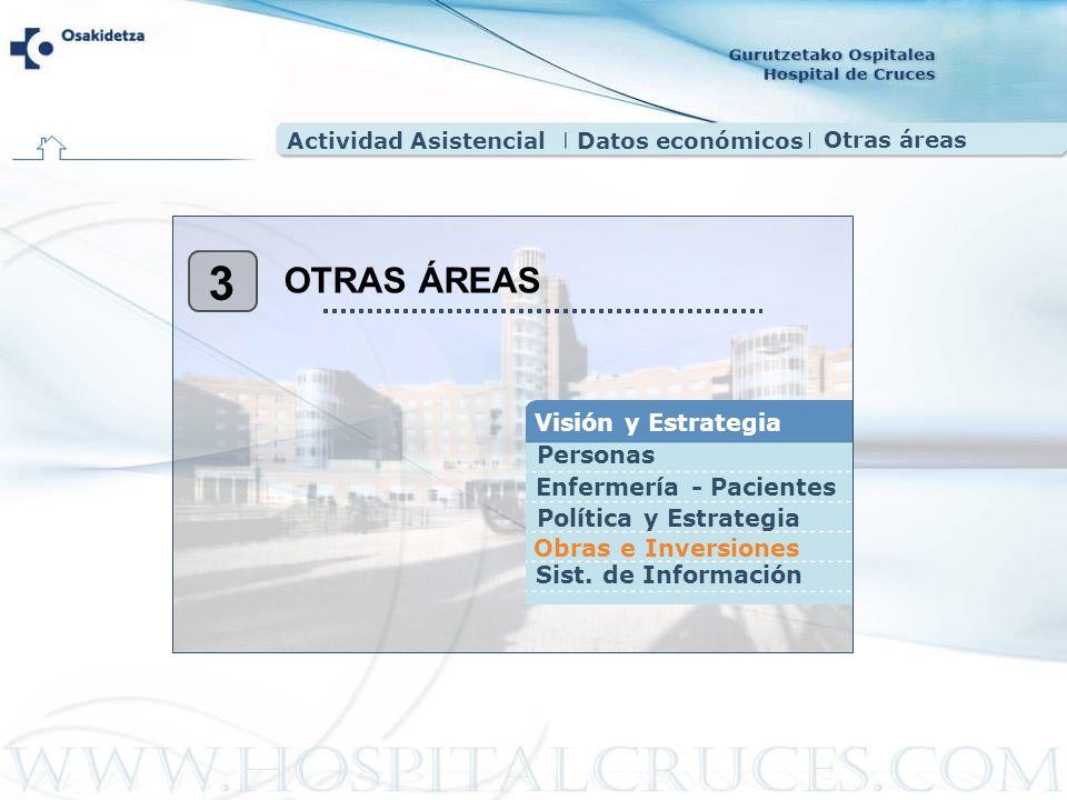 Actividad AsistencialDatos económicos Otras áreas 3 OTRAS ÁREAS Visión y Estrategia Personas Sist. de Información Obras e Inversiones Política y Estra