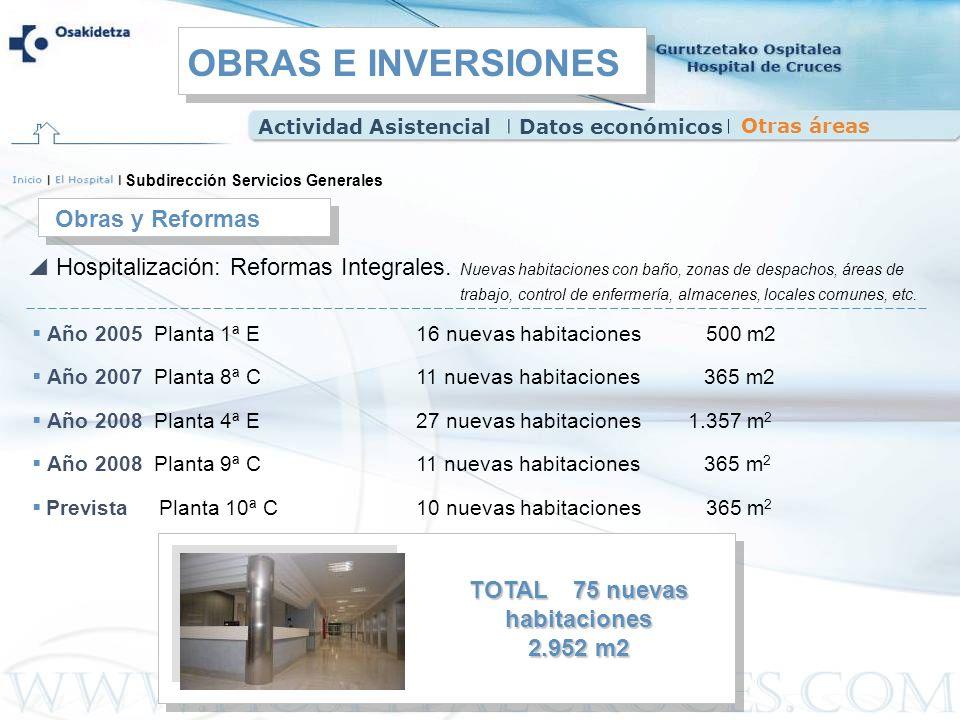 Año 2005 Planta 1ª E16 nuevas habitaciones 500 m2 Año 2007 Planta 8ª C 11 nuevas habitaciones 365 m2 Año 2008 Planta 4ª E 27 nuevas habitaciones 1.357