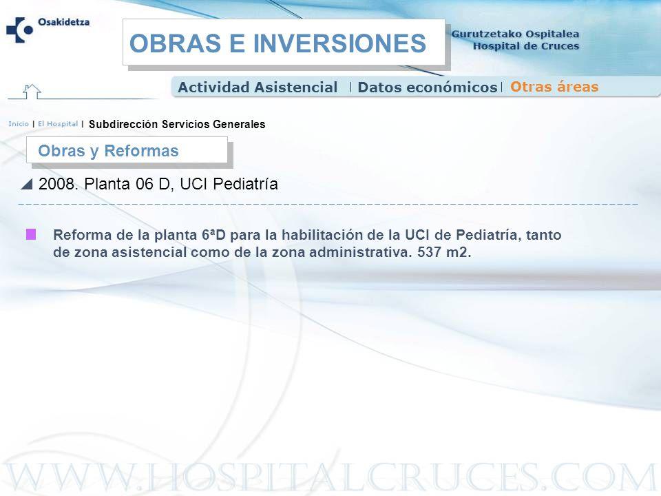 Obras y Reformas 2008. Planta 06 D, UCI Pediatría Reforma de la planta 6ªD para la habilitación de la UCI de Pediatría, tanto de zona asistencial como