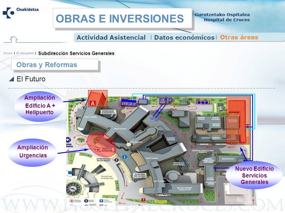 Obras y Reformas El Futuro Subdirección Servicios Generales Ampliación Edificio A + Helipuerto Ampliación Urgencias Nuevo Edificio Servicios Generales