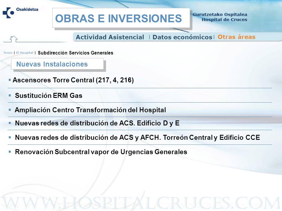Ascensores Torre Central (217, 4, 216) Sustitución ERM Gas Subdirección Servicios Generales Nuevas Instalaciones Ampliación Centro Transformación del