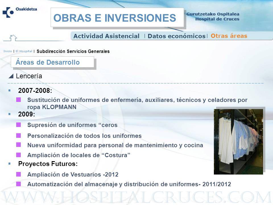 Lencería Subdirección Servicios Generales Áreas de Desarrollo 2007-2008: Sustitución de uniformes de enfermería, auxiliares, técnicos y celadores por