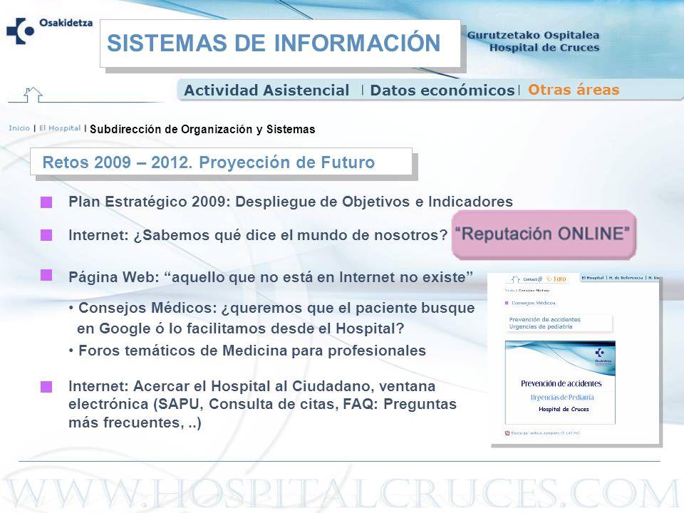 Subdirección de Organización y Sistemas Internet: ¿Sabemos qué dice el mundo de nosotros? Plan Estratégico 2009: Despliegue de Objetivos e Indicadores