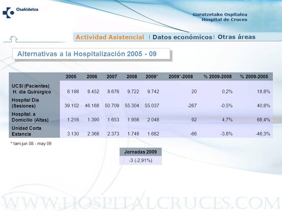 Actividad AsistencialDatos económicos Alternativas a la Hospitalización 2005 - 09 20052006200720082009*2009*-2008% 2009-2008% 2009-2005 UCSI (Paciente