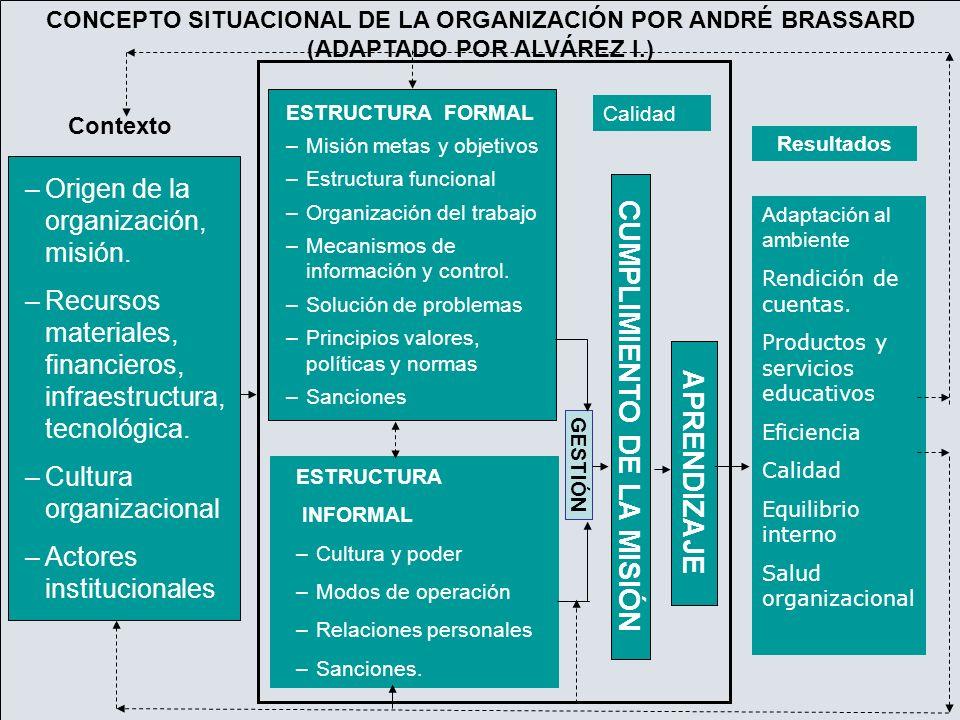 –Origen de la organización, misión. –Recursos materiales, financieros, infraestructura, tecnológica. –Cultura organizacional –Actores institucionales
