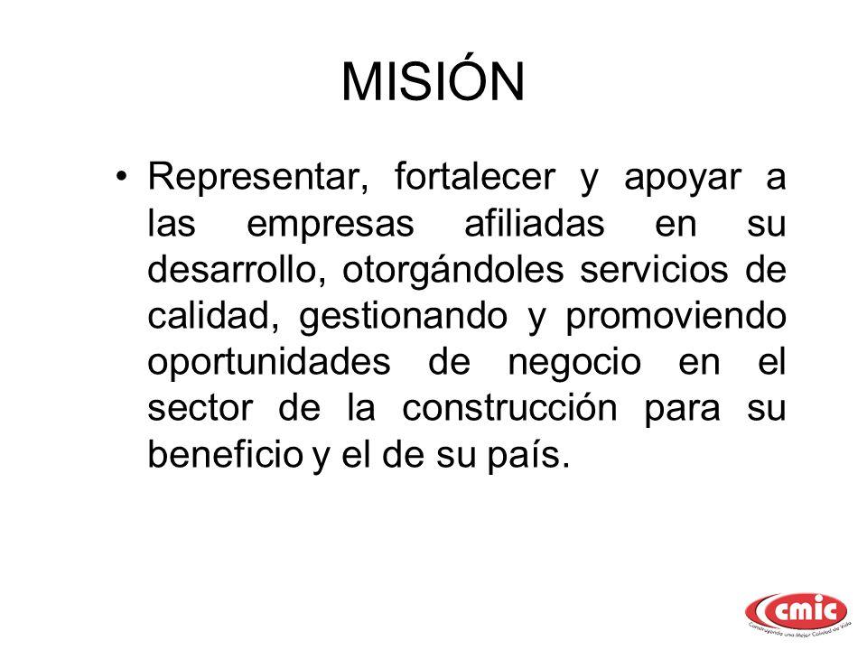 MISIÓN Representar, fortalecer y apoyar a las empresas afiliadas en su desarrollo, otorgándoles servicios de calidad, gestionando y promoviendo oportu