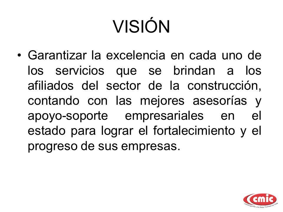 VISIÓN Garantizar la excelencia en cada uno de los servicios que se brindan a los afiliados del sector de la construcción, contando con las mejores as