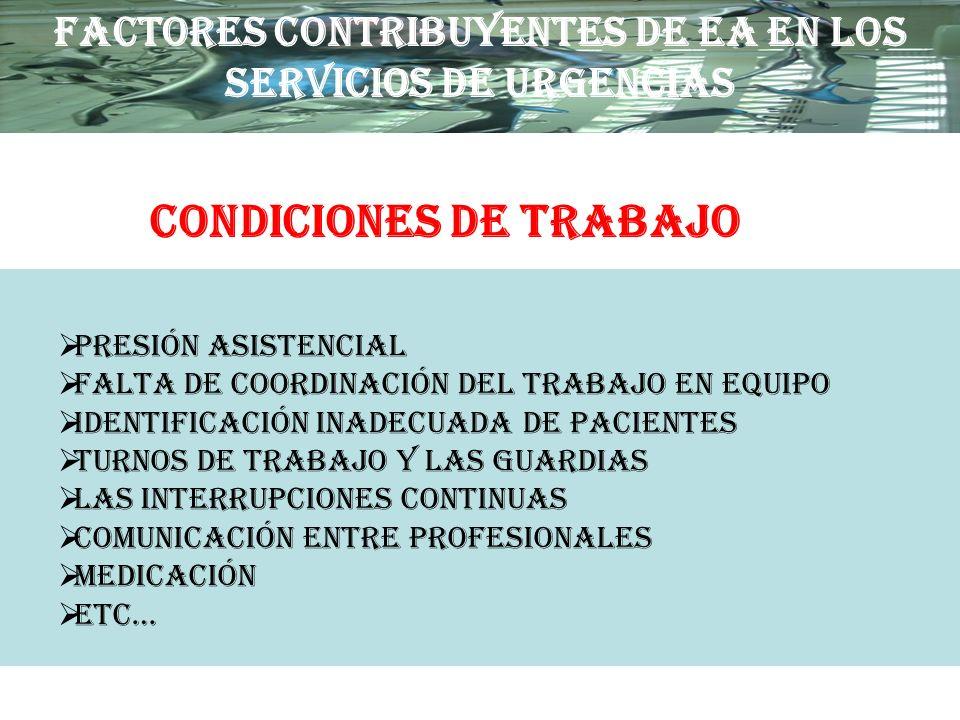 PRESIÓN ASISTENCIAL FALTA DE COORDINACIÓN DEL TRABAJO EN EQUIPO IDENTIFICACIÓN INADECUADA DE PACIENTES TURNOS DE TRABAJO Y LAS GUARDIAS LAS INTERRUPCI