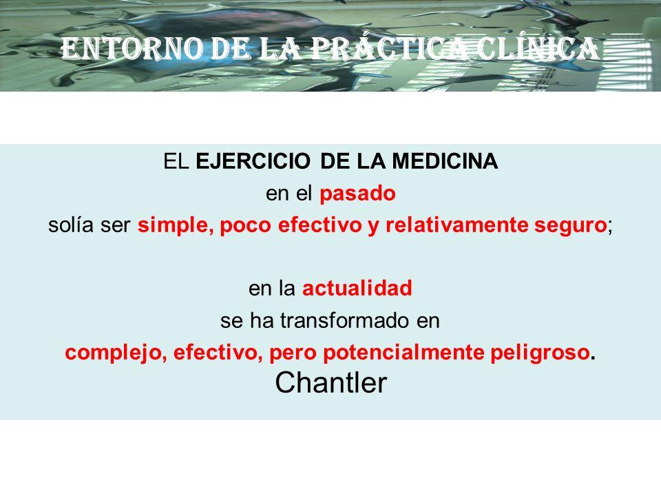 ENTORNO DE LA PRÁCTICA CLÍNICA EL EJERCICIO DE LA MEDICINA en el pasado solía ser simple, poco efectivo y relativamente seguro; en la actualidad se ha