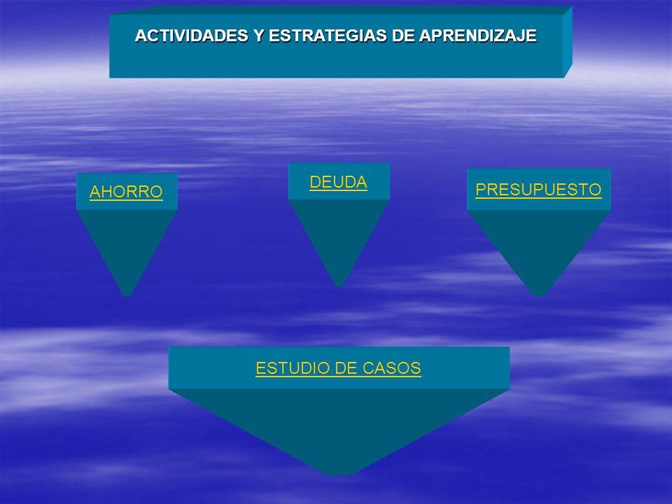 ACTIVIDADES Y ESTRATEGIAS DE APRENDIZAJE AHORRO DEUDA PRESUPUESTO ESTUDIO DE CASOS