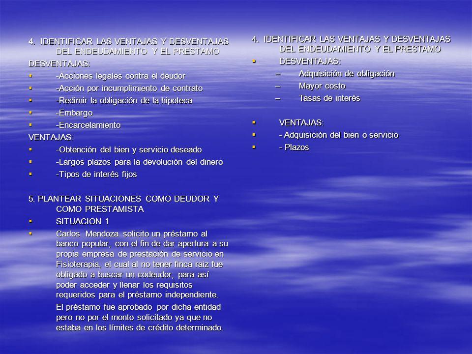 4. IDENTIFICAR LAS VENTAJAS Y DESVENTAJAS DEL ENDEUDAMIENTO Y EL PRESTAMO DESVENTAJAS: -Acciones legales contra el deudor -Acciones legales contra el
