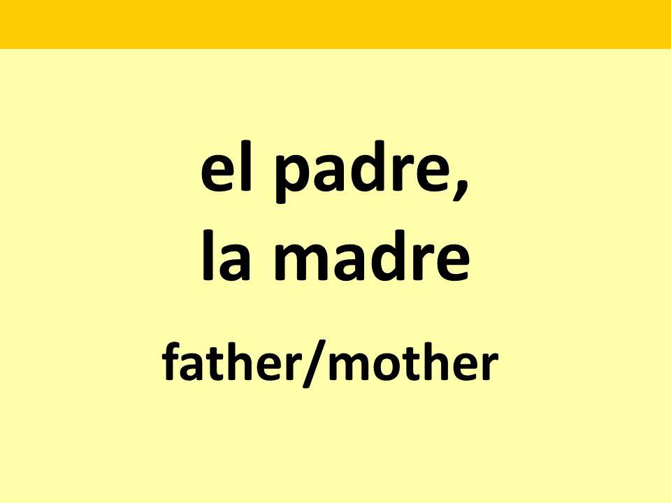 el padre, la madre father/mother