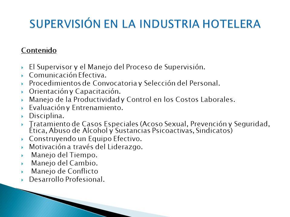Contenido El Supervisor y el Manejo del Proceso de Supervisión.