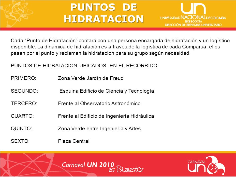 CRONOGRAMA DEL DESFILE 9:00 A.M.PUNTO DE ENCUENTRO Zona del Freud, Derecho, odontología y humanas.