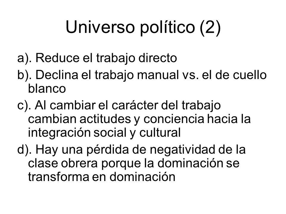 Universo político (2) a). Reduce el trabajo directo b). Declina el trabajo manual vs. el de cuello blanco c). Al cambiar el carácter del trabajo cambi