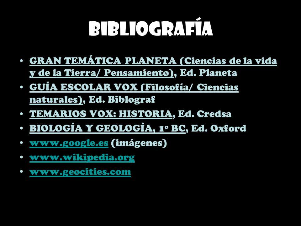 Bibliografía GRAN TEMÁTICA PLANETA (Ciencias de la vida y de la Tierra/ Pensamiento), Ed. Planeta GUÍA ESCOLAR VOX (Filosofía/ Ciencias naturales), Ed