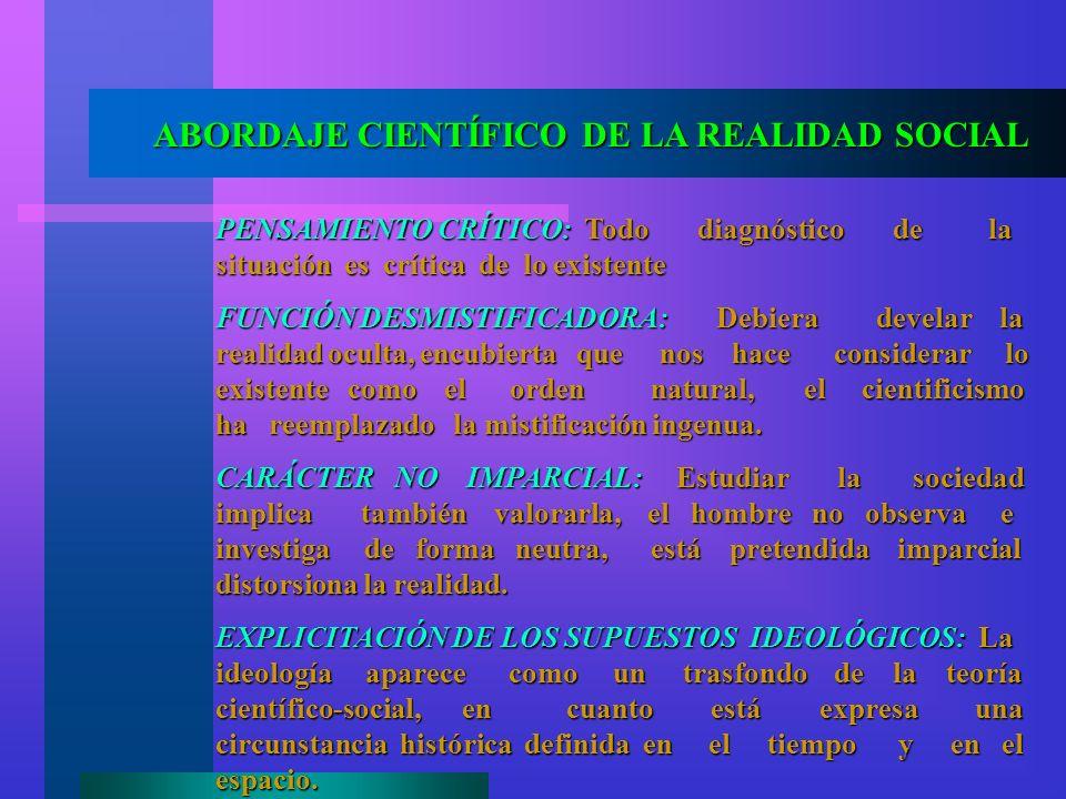 ABORDAJE CIENTÍFICO DE LA REALIDAD SOCIAL PENSAMIENTO CRÍTICO: Todo diagnóstico de la situación es crítica de lo existente FUNCIÓN DESMISTIFICADORA: D