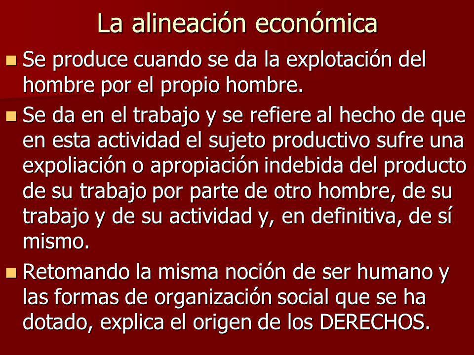 La alineación económica Se produce cuando se da la explotación del hombre por el propio hombre. Se produce cuando se da la explotación del hombre por
