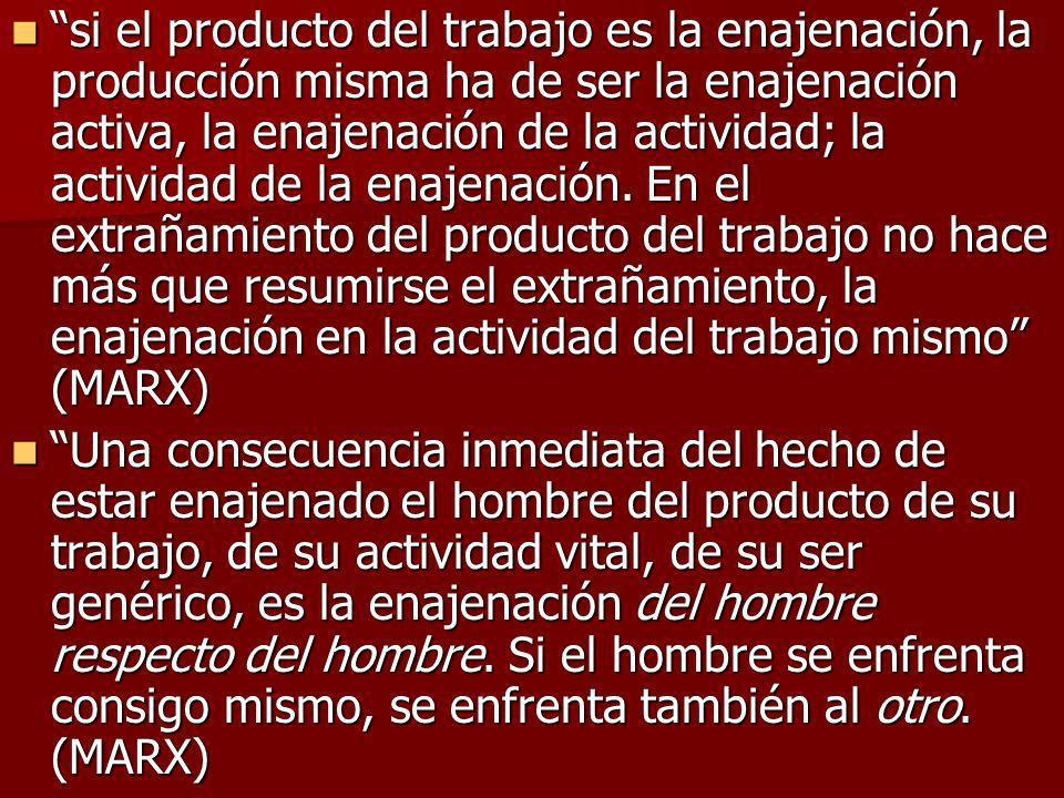 si el producto del trabajo es la enajenación, la producción misma ha de ser la enajenación activa, la enajenación de la actividad; la actividad de la
